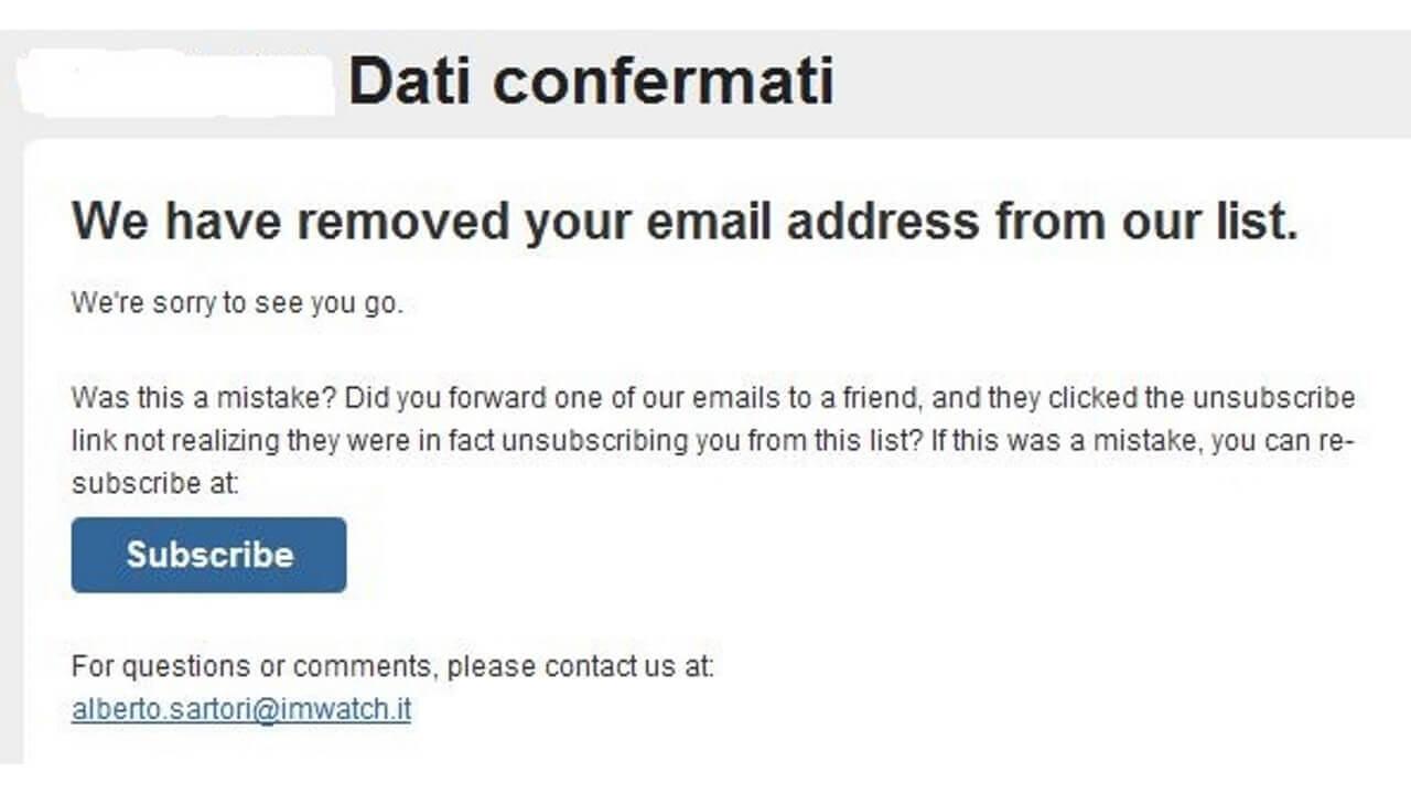 「i'm Watch」から恐ろしいメールが届きました