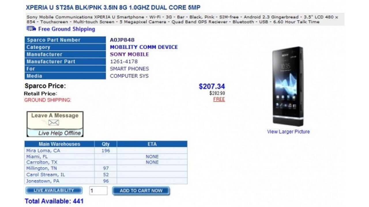 北米版「Xperia U(ST25a)」がひどく値下がっています