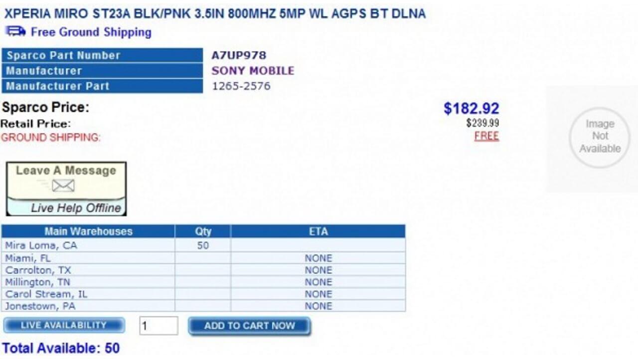 北米版Xperia miro ST23aが手配可能になりました