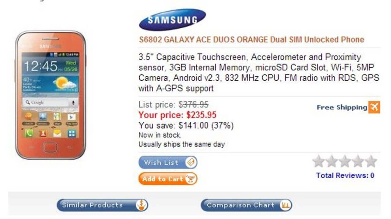 Dual-SIM対応Galaxy Ace Duos S6802はBLACK・WHITE・PINK更にORANGEもあり全部で4色