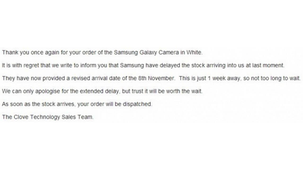 Galaxy Cameraの英国発売が11月8日に延期
