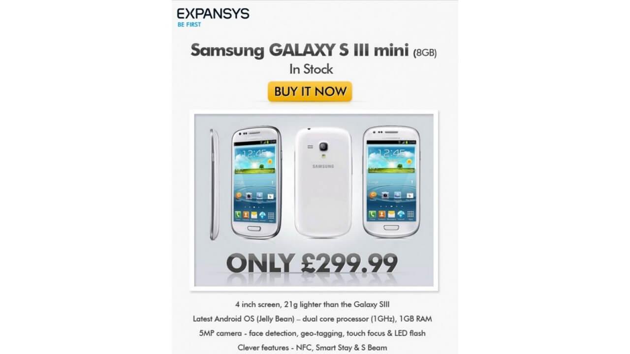 GALAXY S III mini I8190のWHITEカラーがEXPANSYS UKに入荷