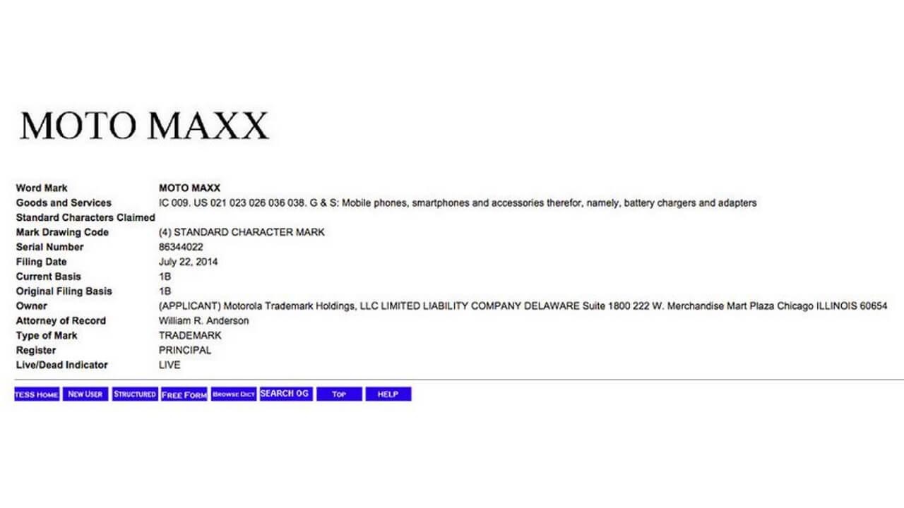 Motorola、Moto MAXXを商標登録