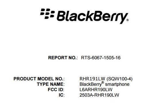 未発表のBlackBerry Osloと見られている「SQW100-4」がFCCの認証を取得、スクエアディスプレイとなることが判明