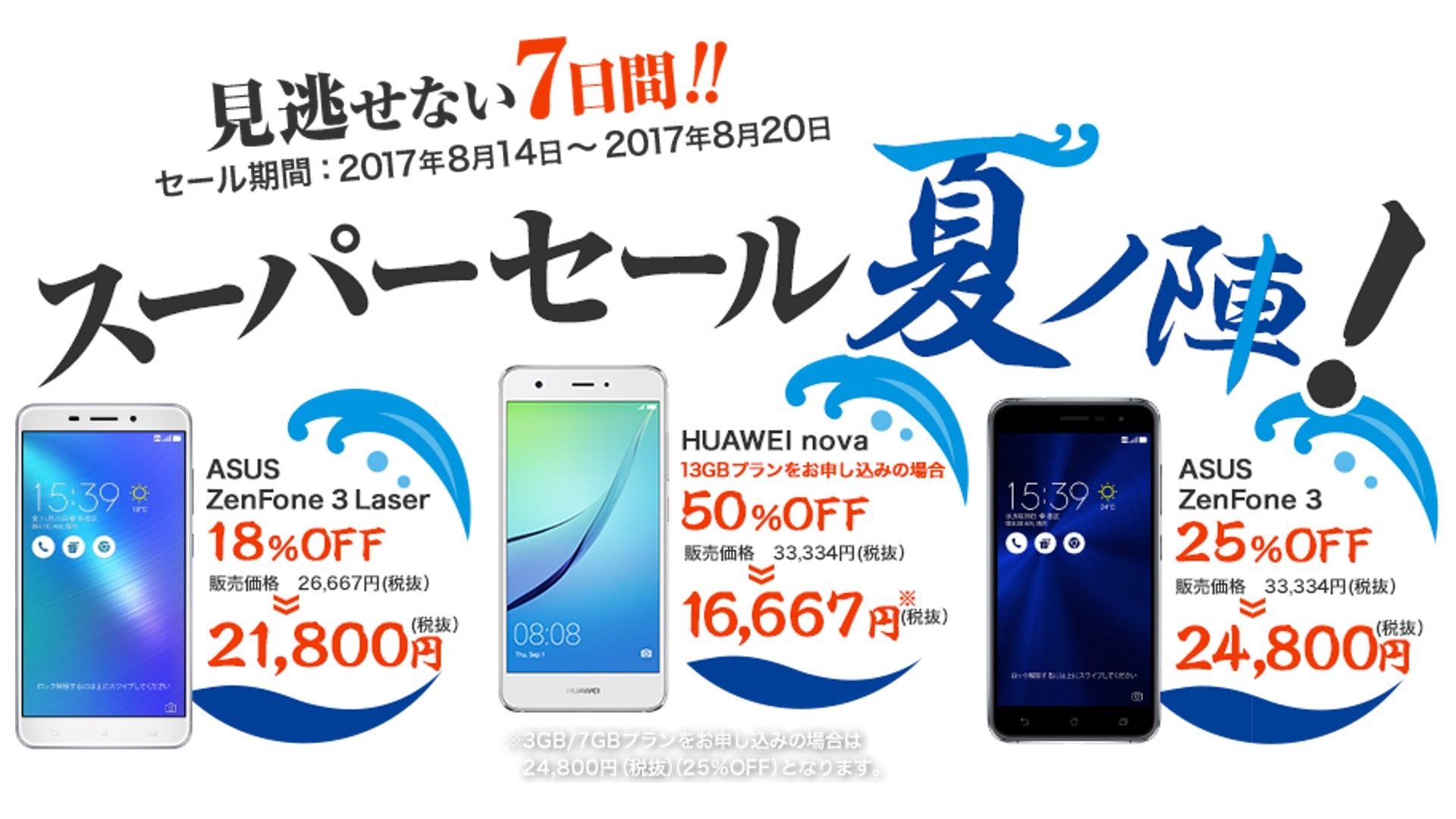 条件次第で「Huawei nova」が50%引き!「NifMoスーパーセール夏ノ陣」開催、8月20日まで