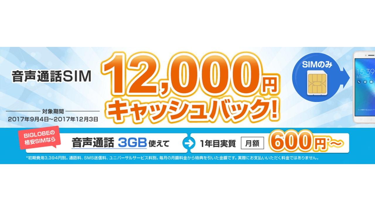 BIGLOBE、1年間継続利用で最大12,000円のキャッシュバックキャンペーンを開始(SIMのみ)