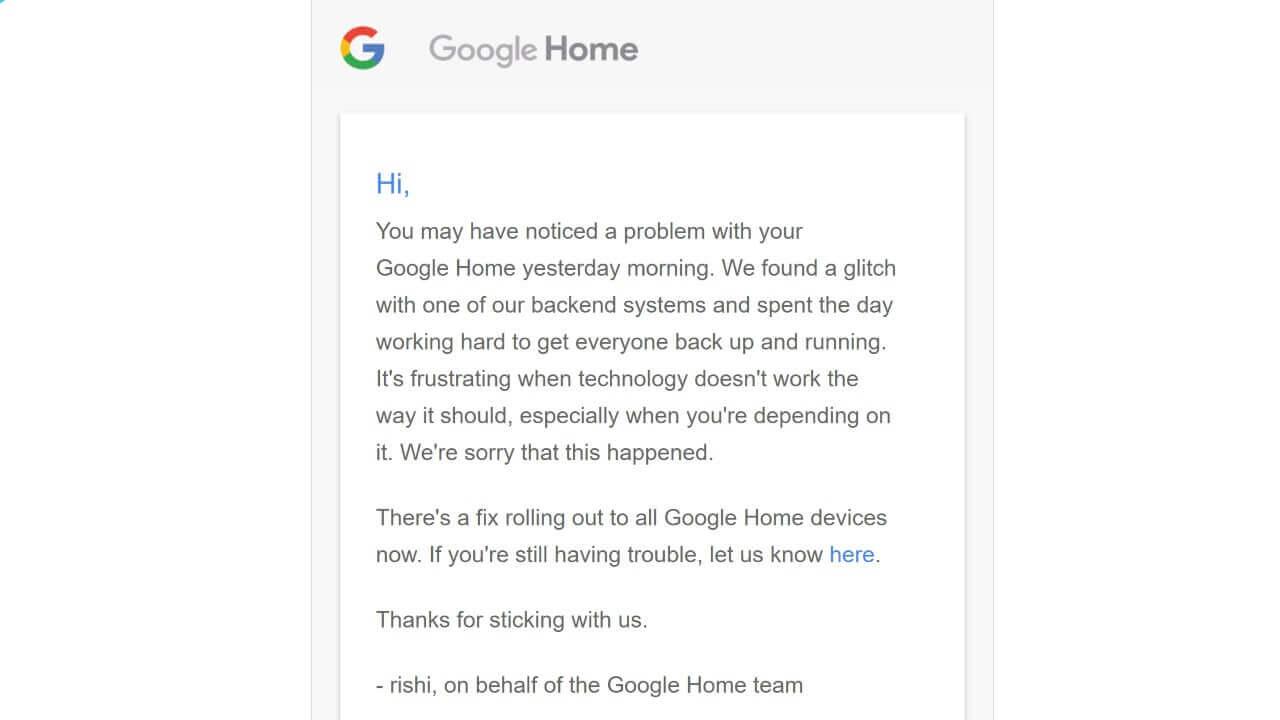 「Google Home」「Chromecast」のバグ修正アップデートが配信、Googleは各ユーザーにメールで謝罪
