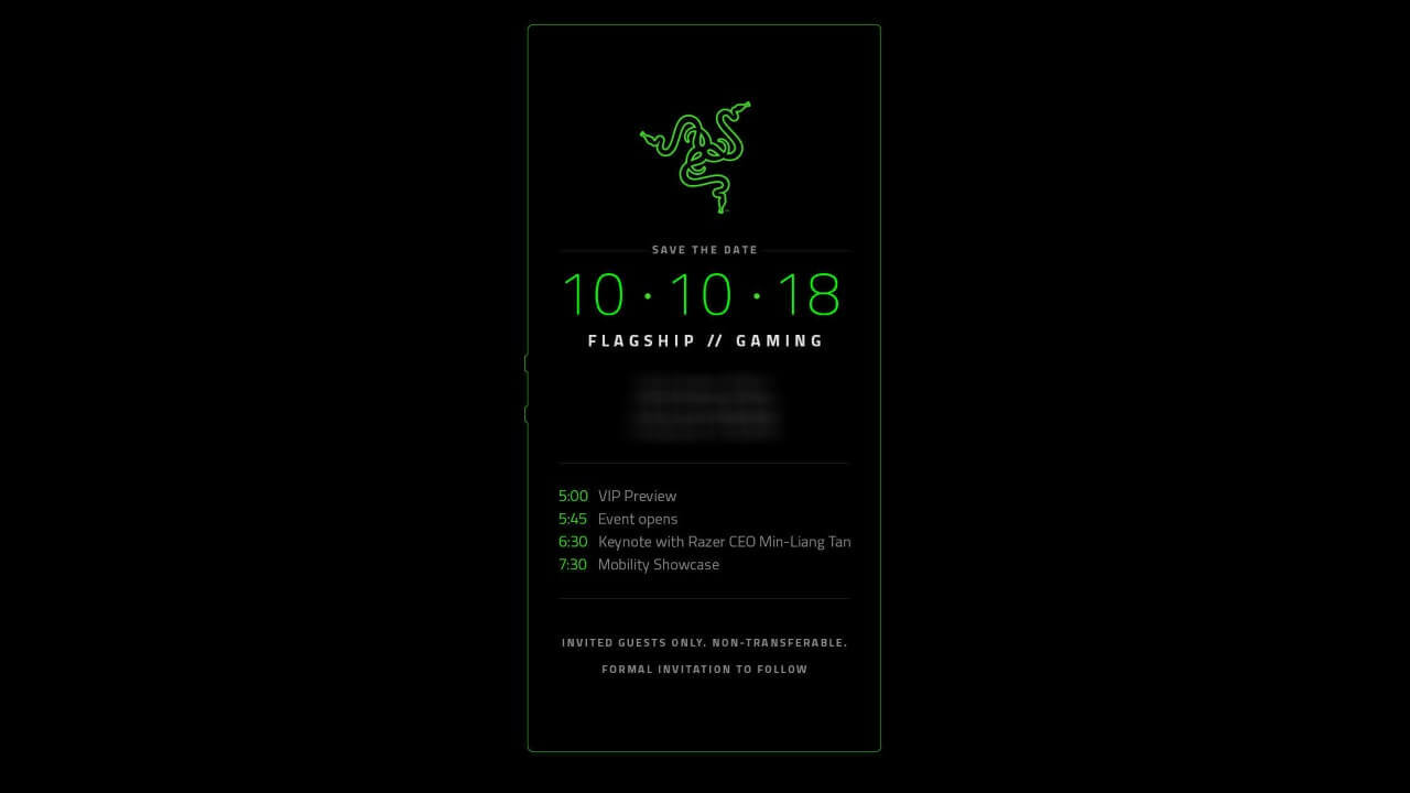 RAZERが10月10日に新製品発表イベントを開催、「Razer Phone 2」を発表?