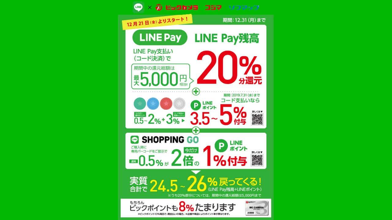 ビックカメラで「LINE Pay」利用可能に、20%還元「Payトク」対象