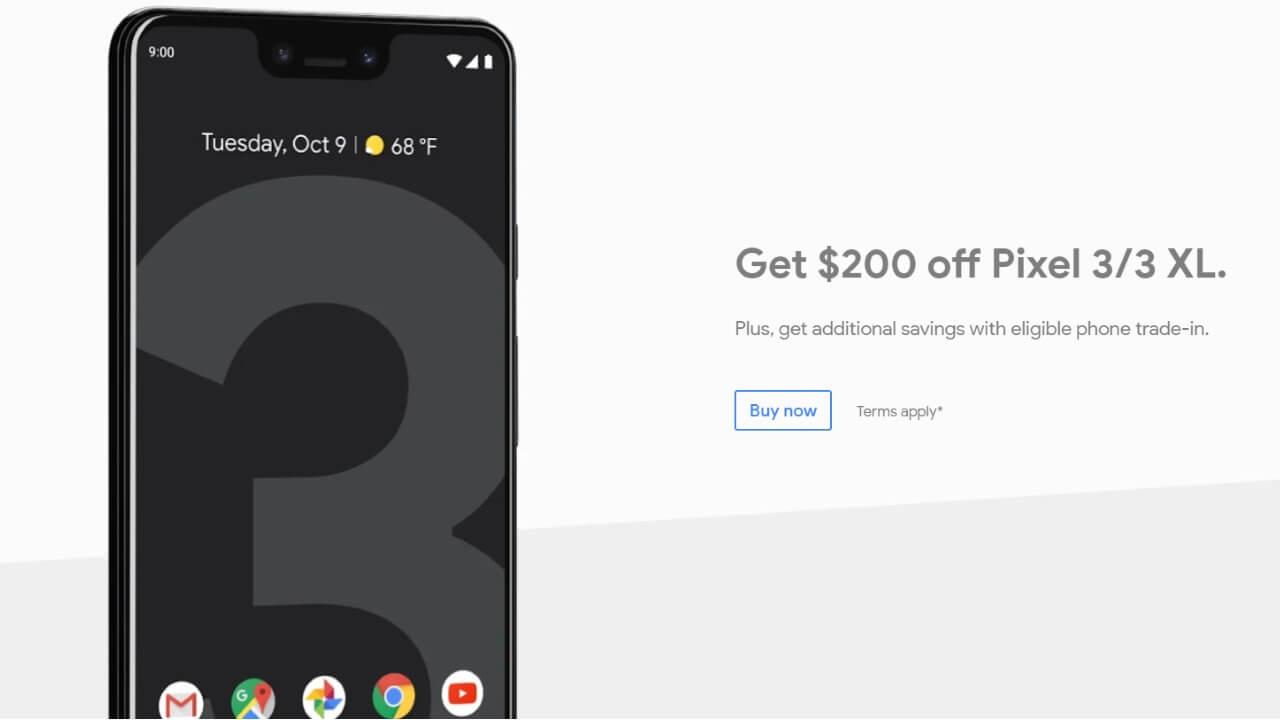 米Googleストアが「Pixel 3」を$200引きに、3月3日まで