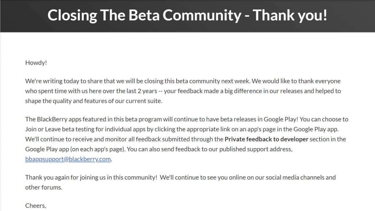 「BlackBerry Beta Community」サイト閉鎖へ