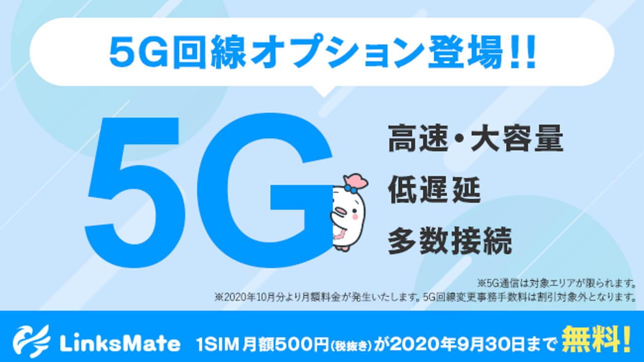 LinksMate、商用MVNO初の「5G」オプション提供開始