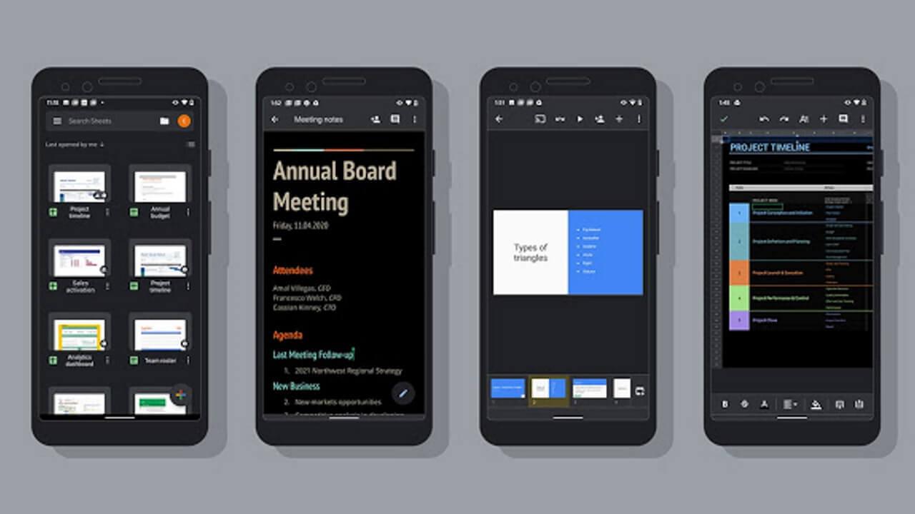 Android「Google ドキュメント/スライド/スプレッドシート」がついにダークモードに