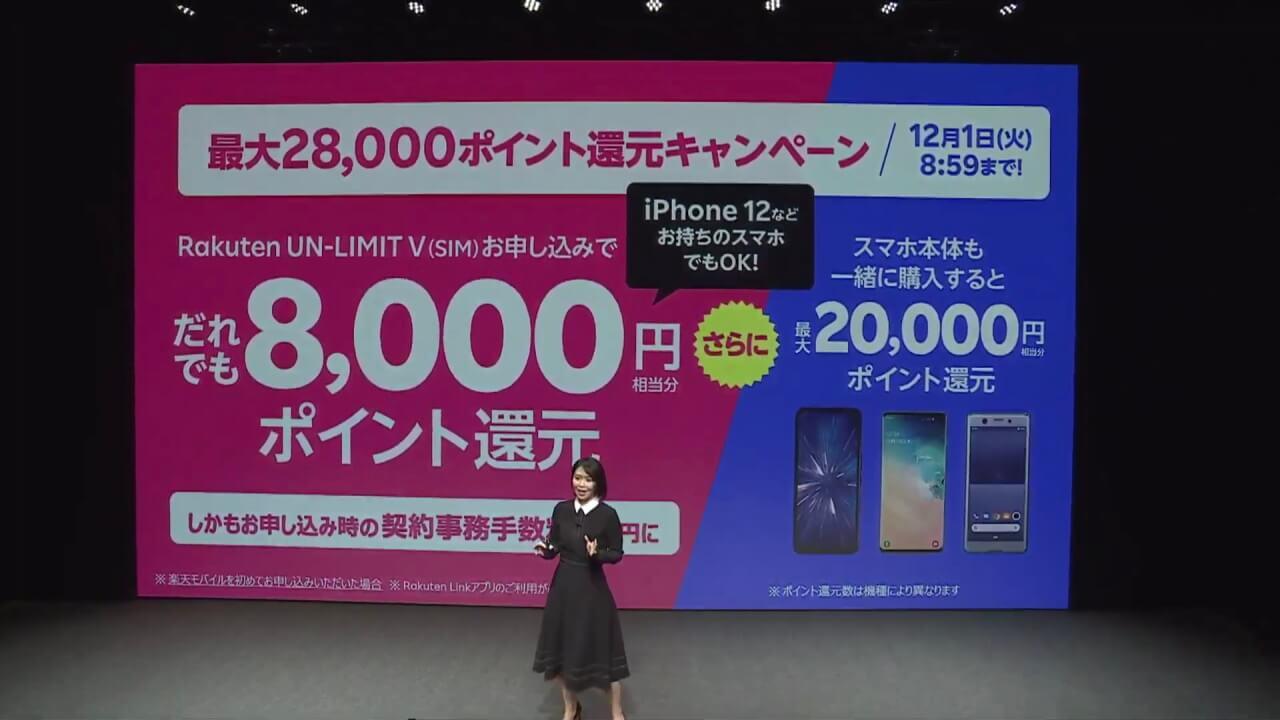 「楽天モバイル」最大28,000pt還元キャンペーン開始【12月8日まで】