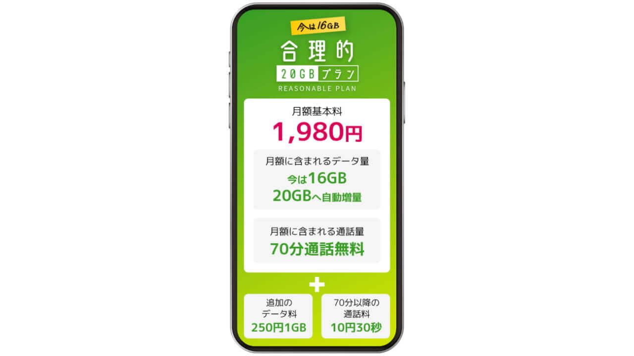 日本通信「合理的20GBプラン」提供開始